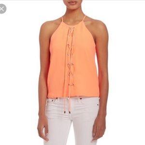 PARKER Estella Neon Orange Lace Up Top